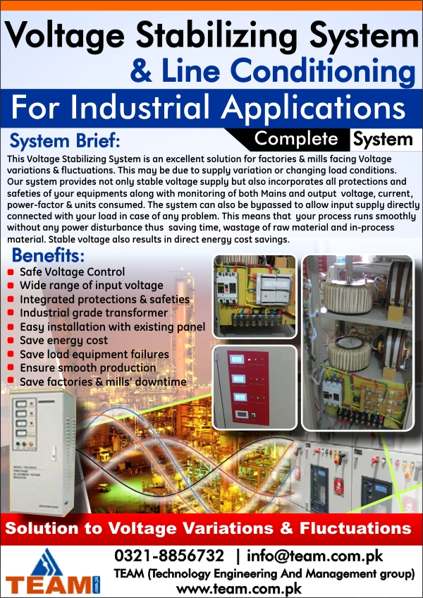 Three Phase Voltage Stabilizing System for Industrial Applications